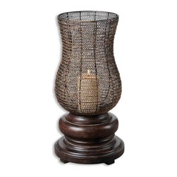 Uttermost - Uttermost Rickma Candle Holder - Uttermost Rickma Candle Holder is a Part of Mattew Williams Collection by Uttermost This statuesque candleholder features a heavily distressed, chestnut brown base with a woven metal globe finished in antiqued gold leaf. Distressed beige candle included. Art Object (1)