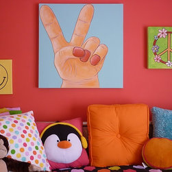 """Anita Roll - Fun peace art that comes in a set of three canvas paintings. 24""""x24"""", 12""""x12"""", and 10""""x10""""."""