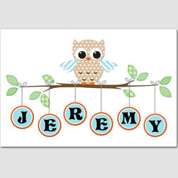Bangles The Owl By fancy this baby - Here is one of my favorite customized name art plaques.