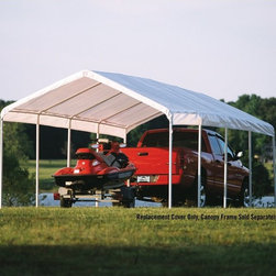 """ShelterLogic - ShelterLogic 12 x 20 Canopy White Replacement Cover for 2"""" Frame - 10049,http:// - Shop for Sheds & Storage - Accessories from Hayneedle.com! Whether you are throwing a wedding reception or hosting a semi-formal party the ShelterLogic 12x26 Canopy Replacement Cover for 2-In. Frame is a heavy-grade polyester cover and is UV-treated inside and out. It has added fade blockers as well as anti-aging and anti-fungal agents for a cover that withstands the elements. This canopy cover available in your choice of tan or white features double-stitched lining and is sealed for optimal water resistance and drip-free seams. Fits ShelterLogic 2-inch-diameter steel tubing frames.About ShelterLogic LLCShelterLogic LLC specializes in manufacturing and distributing a full line of multi-purpose all-weather shelters and accessories for consumer and commercial use. ShelterLogic offers the most diverse shelter product line and is the worldwide leader in innovative shelter design and manufacturing. The company makes shelters for all kinds of weather and custom solutions for every customer's need - from a full line of canopies garages sheds and storage shelters to popular ports greenhouses equine and engineered structures. More than 2 million ShelterLogic all-weather shelters provide protection and stand between valuable possessions and the destructive forces of nature's elements."""