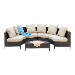 Great Deal Furniture - Venice Outdoor 5pcs Wicker Sofa Sectional Set - Nothing like enjoying the warm outdoors like having the comforts of the Venice 5pcs lounge set. Constructed from dark brown wicker, a durable material that is fitting for the outdoors, this set includes four (4) round loveseat sofas that fit together to create a moon shaped lounge with a matching ottoman that can be nestled within the lounge. Whether arranged together or dispersed apart, this set includes matching plush cushions that provide a comfortable experience for your guests.
