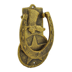 Zeckos - Western Horseshoe and Cowboy Boot Door Knocker Brass Finish - Decorate your front door with this Western themed door knocker. It features a cowboy boot atop a large star medallion, and the knocker is a giant lucky horseshoe. This piece measures 8 inches long, 5 inches wide, 1 inch deep, and it has a metallic brass colored finish. Note: Holes are pre-drilled for mounting, hardware is not included.