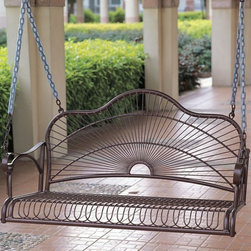 "International Caravan - Sun Ray Porch Swing in Wrought Iron - In bronze finish. Made of iron. Uses EP Rust Protection for extended longer lasting outdoor protection, equipped with chains. A unique ""sunray"" design. Great for couples, backyards, porches. 43 in. W x 20.5 in. D x 24 in. H. Option to add a custom made cushion for added comfort and style"