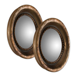 Uttermost - Tropea Rounds Wood Mirror S/2 - Frame Features A Plated, Oxidized Copper Finish With A Rust Gray Wash. Mirror Is Convex. Two Sets Of Two Are Shown.