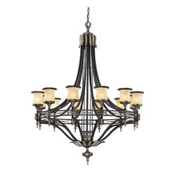 "Elk Lighting - Georgian Court 12-Light Chandelier in Antique Bronze and Dark Umber - During the mid-eighteenth century, the georgian style became immensely popular, not only in england, but also in colonial america. The ""colonial"" home was influenced by the georgian style, characterized by a sense of proportion, balance, and carefully thought out details. Furniture and objects of the time were of a larger scale, yet with a lighter feeling than earlier periods. This lighter feeling transmitted grace, elegance, and prominence, and allowed details to become more of the focal point, rather than the principle elements of the structure. The georgian court collection reflects those earlier influences with a well-balanced proportions, attractive brass finished details, and amber glass with a marbleized finish and decorative ring."