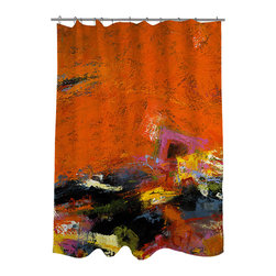 None - Thumbprintz Jubiliation Shower Curtain - This shower curtain features abstract,urban art by Janet Bothne in shades of orange and red with multicolored paint near the bottom. The buttonholes along the top keep the curtain and your bathroom looking stylish.