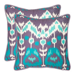 Safavieh Home Furniture - Manhattan 18-Inch Aqua and Cream Decorative Pillows - Set of Two - - Manhattan 18-Inch Aqua and Cream Decorative Pillows - Set of Two  - Please note this item has a 30-day manufacturer's limited warranty that covers product defects. Inspect your purchase upon delivery and notify us immediately with any concerns. Safavieh Home Furniture - PIL160A-1818-SET2