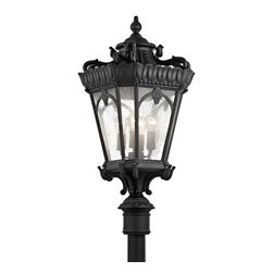 Kichler Lighting - Kichler Lighting 9565BKT Tournai Traditional Outdoor Post Lantern Light - With its heavy textures, dark tones and fine attention to detail, this 4 light mounted outdoor post from the Tournai™ collection stands out from other outdoor fixtures. Handmade from cast aluminum, its distinctive Textured Black finish and Clear Seedy Glass panels give this piece a unique aged look.