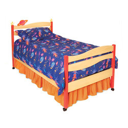 Star Rocket Twin Bed, Natural - Planets and Stars float above the headboard waves of this quality twin bed, made of solid hardwood and birch veneer finished with brightly colored stains. Includes headboard, footboard, rails, mattress slats, 4 sturdy casters, and finials.