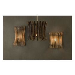 BoBo Intriguing Objects - BoBo Intriguing Objects Wine Barrel Stick Sconce - Reclaimed French Oak wine barrel staves on iron frame form a unique and refined wall sconce. Available in two distinct sizes, these wall sconces from BoBo are sure to make a statement in any space.Please note that items from BoBo Intriguing Objects are imported from Europe and the time it takes to receive these Intriguing Objects will vary. Should you have any questions regarding a timeline for these, or any of our products, please call our friendly staff at 1-800-440-5121.