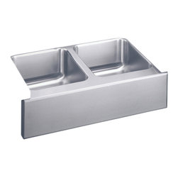 """Elkay - Elkay ELUHF3320  Gourmet Undermount Sink - Elkay's ELUHF3320 is a Gourmet Undermount Sink. This dual-bowl diamond sink is constructed of 18-gauge type 304 nickel bearing stainless steel, and can be mounted under almost any surface. It features 7-7/8"""" bowl depths, and two 3-1/2"""" drain openings."""