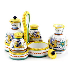 Artistica - Hand Made in Italy - RAFFAELLESCO: Salt and Pepper Oil and Vinegar set - RAFFAELLESCO Collection: Among the most popular and enduring Italian majolica patterns, the classic Raffaellesco traces its origin to 16th century, and the graceful arabesques of Raphael's famous frescoes.
