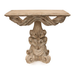 Ribbon Console Table - Give your entryway unmistakable gravitas with the elegant ornamentation of the Ribbon Console Table. A traditional light faux-stone finish accents a host of intricate details, including broad, draping ribbon dramatically swagged around a fluted, cone-shaped central column with four curled-back feet. Spiraling old-world key motifs support the sculpted neoclassical drapery. The smooth, beveled tabletop (over three feet wide) perfectly plays host to treasures and necessities in a timelessly elegant home.