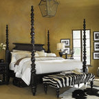 Tommy Bahama Home - Kingstown Sovereign Four Poster Bed - The Kingstown Sovereign Poster Bed is bound with a relaxed traditional look that is inspired by Brit'sh Colonial and Campaign styling. Offering dreams of distant lands, an island inspiration is subtly defined in the woven cane headboard and turned posts of this bed. A removable canopy frame and a low-post option for the footboard provide an array of personalized options. Experience a distinctive design that offers a sense of a well-traveled life with the Kingstown Sovereign Poster Bed. Features: -Removable canopy frame.-Low post foot board option.-Constructed of mahonie solids, American maple and mahonie veneers.-Distressed Tamarind finish.-This bed is finished and sanded in multiple stages to distress the piece and give it the look of a well-loved antique.-Custom-designed, solid brass hardware, with substantial heft to the hand, and finished in an aged bronze with copper undertone.-What's in a Name?The evocative pieces in Kingstown give you the sense of a well-traveled, of items hand-selected during journeys around the globe, from the West Indies to Africa to the Caribbean. While retaining the laid back appeal of the Tommy Bahama brand, Kingstown broadens the approach with a relaxed traditional look that can fit into many lifestyles. Let your home be touched by this collection that has Brit'sh Colonial look with a hint of Campaign and a whisper of Safari..-Distressed: Yes.-Collection: Kingstown.Dimensions: -Overall Product Weight: 295 - 323 lbs.