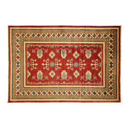 Manhattan Rugs - New Oriental Tribal Kazak 7' X 10' Traditional Hand Knotted Red Wool Rug H3674 - Kazak (Kazakh, Kasak, Gazakh, Qazax). The most used spelling today is Qazax but rug people use Kazak so I generally do as well.The areas known as Kazakstan, Chechenya and Shirvan respectively are situated north of Iran and Afghanistan and to the east of the Caspian sea and are all new Soviet republics. These rugs are woven by settled Armenians as well as nomadic Kurds, Georgians, Azerbaijanis and Lurs.  Many of the people of Turkoman origin fled to Pakistan when the Russians invaded Afghanistan and most of the rugs are woven close to Peshawar on the Afghan-Pakistan border.There are many design influences and consequently a large variety of motifs of various medallions, diamonds, latch-hooked zig-zags and other geometric shapes. However, it is the wonderful colours used with rich reds, blues, yellows and greens which make them stand out from other rugs. The ability of the Caucasian weaver to use dramatic colours and patterns is unequalled in the rug weaving world.  Very hard-wearing rugs as well as being very collectable