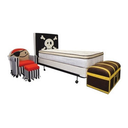 "ACMACM39060 - Jakie Pirates Skull and Cross Bones Headboard Black and White Fabric - Jakie Pirates Skull and Cross Bones Headboard Black and White Fabric. This set includes just the headboard with skull and cross bones. Measures 49""H. Some assembly may be required."
