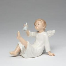 CG - Boy Angel in White Robe with Wings Sitting Down Ringing Bell Figurine - This gorgeous Boy Angel in White Robe with Wings Sitting Down Ringing Bell Figurine has the finest details and highest quality you will find anywhere! Boy Angel in White Robe with Wings Sitting Down Ringing Bell Figurine is truly remarkable.