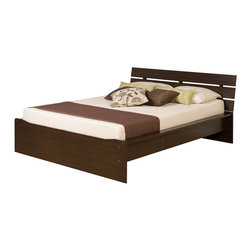 Prepac - Escala Espresso Queen-size Platform Bed - Combine functionality and comfort in your bedroom with this wooden queen size platform bed. The frame has a sloped and integrated headboard for optimum pillow placement for sleeping or reading. The raised frame gives storage space under the bed.