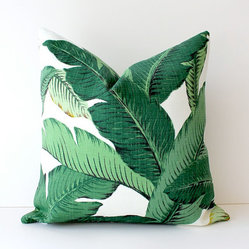 Green Floral Decorative Designer Pillow Cover By Whitlock & Co.