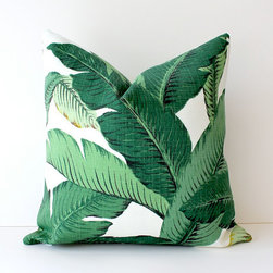 Green Floral Decorative Designer Pillow Cover By Whitlock & Co. - This green palms cushion has a tropical feel to it that instantly makes me feel like I live in a warmer climate!