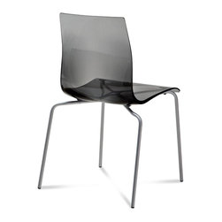 Domitalia - Gel-B Stackable Dining Chair, Transparent Smoke - Stacking chair
