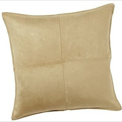 "Faux Suede Pillow Cover 24"" sq., Oat - Soft as real suede, our plush pillow is pleasing to the touch and brings understated elegance to a sofa, chair or bed. 24"" square Front panel made of polyester. Back panel made of linen and is a solid flax color. Zipper closure. Insert sold separately; down blend or synthetic. Dry-clean for best results. Imported."