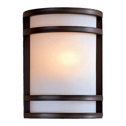 """Minka Lavery - Contemporary Bay View Bronze 9 1/2"""" High Outdoor Light - From Minka comes this clean design mission style outdoor wall light. The outdoor light features a powder coat oil rubbed bronze finish with etched opal glass. The stainless steel construction makes it ideal for harsh weather conditions. Add a stylish look to your entryway with this contemporary design. Includes one 13 watt spiral four pin fluorescent bulb. 9 1/2"""" high. 7 1/4"""" wide. Extends 4"""" from the wall.  Oil rubbed bronze finish.  Etched opal glass.  Includes one 13 watt GU24 bulb.   9 1/2"""" high.   7 1/4"""" wide.  Extends 4"""" from the wall. ADA Compliant.  California Title 24 Compliant."""