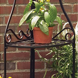 None - Panacea Olde World Forged Corner Black Plant Stand - Panacea Black Olde World Forged Corner Plant Stand