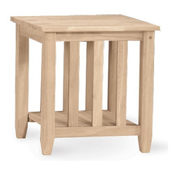 International Concepts - Mission Tall End Table - The extra height of this tall Mission style wood end table makes it ideally suited for using beside your oversized sofa or chair. It features a convenient storage shelf for items such as books, magazines, or your pet's toys. Add the perfect stain or paint color to customize this end table to match your existing d̩cor. Lower display shelf. Made from Para Wood. Unfinished table. Minimal assembly required. 21 in. W x 21 in. L x 25 in. H
