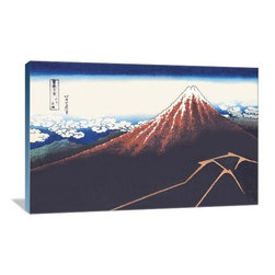 """Artsy Canvas - Mount Fuji In Summer 36"""" X 24"""" Gallery Wrapped Canvas Wall Art - Mount Fuji in Summer - Katsushika Hokusai (1760 beautifully represented on 36"""" x 24"""" high-quality, gallery wrapped canvas wall art"""
