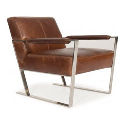 Our Academy Awards of Furniture: The Oscar Goes To? - The retro feel of the Uno chair fits any sleek contemporary space. Shown in Mocha leather which is 100% top grain leather. Chromed metal arm and base rails finish the modern look of this chair. It fills the bill for a modern historic recreation