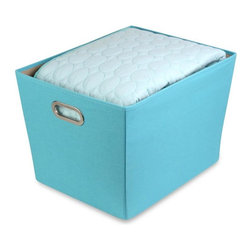 Honey Can Do - Large Decorative Storage Bin With Handles - Polyester exterior. Solid color. 75g non-woven interior. Sturdy construction. Chrome handles. 18.5 in L x 14.5 in W x 12.9 in H