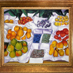 "overstockArt.com - Caillebotte - Fruits sur un étalage - 20"" X 24"" Oil Painting On Canvas Hand painted oil reproduction of a famous Caillebotte painting Fruits sur un étalage . This is a remarkable oil painting with exceptional use of color, detail and brush strokes. The original painting was created in 1882. Today the painting has been carefully recreated detail-by-detail, color-by-color to near perfection. Gustave Caillebotte (1848 - 1894) was a French painter, member and patron of the group of artists known as Impressionists, though he painted in a much more realistic manner than many other artists in the group. Caillebotte was noted for his early interest in photography as an art form."