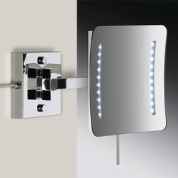 Windisch - Square Brass Wall Mounted Hardwired Lighted 3x or 5x Magnifying Mirror - One face magnifying mirror with direct connection (hardwired).
