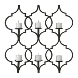 Uttermost - Victorian 6 Candle Holder Metal Wall Sconce Aged Beige Taupe Gray Decor - Victorian inspired style 6 candle holder metal wall sconce aged black beige with taupe gray accents home accent decor