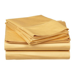 300 Thread Count Egyptian Cotton Full Gold Solid Sheet Set - Experience true 100% Egyptian Cotton luxury when you sleep on these 300 Thread Count sheets.  An affordable luxury that drapes beautifully on the bed. This set includes One Flat Sheet 81x96, One Fitted Sheet 54x75, and Two Pillowcases 20x30 each.