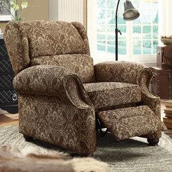 Coaster - Push-Back Recliner, Multi-Colored - Covered in a luxurious damask pattern fabric in brown tones, this traditional recliner features plush arms, nailhead trim and wood feet.