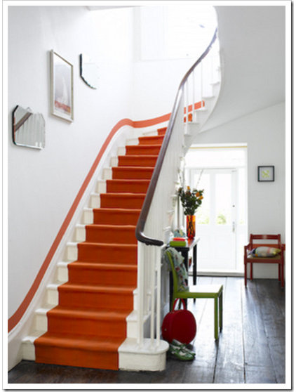 Eclectic  Hermes Orange Staircase (via Colour Me Happy)