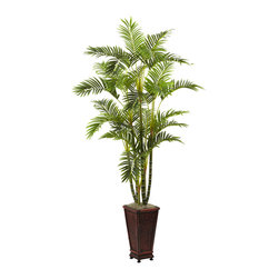 Nearly Natural - 6.5' Areca with Decorative Planter - A proud, stately addition to your decor - that's exactly what this Areca tree with decorative planter will become. Standing tall at six and a half feet, it fills any corner, or guards any entranceway. The trunks project strength, while the delicate leaves are ready to dance in the wind. And it all comes together in the beautiful decorative planter, which is included. Perfect for both home or office.