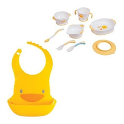 Piyo Piyo Training Table Set - The Piyo Piyo Training Table Set is a fun way to make meal time easier for you and baby. This nine-piece set includes easy-grip utensils and dishes, plus an adorable duckling-shaped waterproof bib. All pieces are made of BPA-free plastic and are microwavable. Ergonomic design, slip-proof grips, and chunky handles make it easier for babies. The bib is waterproof, adjustable, and features a catch-all tray.About Piyo PiyoPiyo Piyo was born in 1988 to founders Annie and William. When this couple couldn't find the safe, functional, and fun baby products they wanted for their own children, they decided to create their own. Piyo Piyo is Taiwanese for the sound a duckling makes. Piyo Piyo has a wide range of baby products from clothing to toys to baby care. All pieces are as well-designed and beautifully crafted as they are adorable.