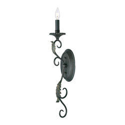World Imports - Angela 1-Light Wall Sconce, Wrought Iron - Wrought-iron finish for a classic look