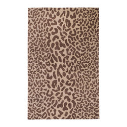 Athena Rug - Driftwood Brown - 6' Round - A gorgeous of chocolate organic fragments on a golden taupe backdrop grounds the Athena rug's abstract animal-print motif in chic style and transforms the exotic elements into a contemporary graphic pattern. Just wild enough to feel surprising and stylish, the neutral palette design mixes easily with a range of furnishings and decor styles, adding a punch of visual excitement to living rooms, bedrooms, or offices. Made of plush, hand-tufted 100% wool, the rug comes in a full range of sizes and shapes.