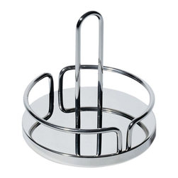 Alessi - Alessi Condiment Container Stand - This attractive caddy features a streamlined fence that keeps your most frequently enjoyed condiments corralled on your table. Salt, pepper — even Sriracha sauce — stays neatly nestled, until you're ready to set them free.