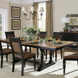 Homelegance - Homelegance Grisoni Trestle Dining Table in Two-Tone Finish - Rustic charm is inspired by cherished evenings spent with friends and family in the Grisoni Collection  lling your dining room with style and comfort. The two-tone finish of this dining offering provides a warm contrast between the natural finish of the acacia veneer tabletop and the distressed black of the trestle base. With unique table-end extension leaves  this tabletop expands to comfortably seat your dinner guests. Coordinating chairs are finished in distressed black featuring the look of bomber jacket microfiber with nailhead accent. The coordinating buffet server features drawer storage  along with lower open display shelf.