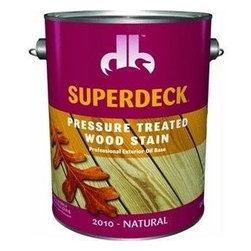 Duckback Products, Inc. - 20104 1G Natural Pres Treat - SUPERDECK PRESSURE TREATED EXTERIOR STAIN  One coat system - transparent stain  High solids, oil-based penetrating stain  Inhibits mold, mildew and sun damage  For use on exterior pressure treated and -  non-treated wood surfaces, such as decks, -  fences, siding, furniture, etc.  250 VOC      20104 1G NATURAL PRES TREAT  Size:1 Gal.  Color: Natural