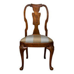 Queen Anne Style Side Chair - An elegantly constructed and well-carved walnut burl Queen Anne style side chair with pad foot and custom reupholstered seat. Highly figured burl wood. England, third quarter, 19th Century.