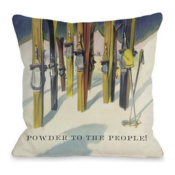 None - Powder to the People Vintage Ski Throw Pillow - Add a great conversation piece with bright and fun throw pillows that will surely liven up any space!