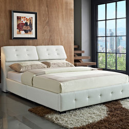Standard Furniture - Standard Furniture Magnum Upholstered Platform Bed in White Queen - Magnum has a high powered look with its fully upholstered design featuring a back rest that opens to reveal hidden storage space.  - 89953.  Product features: Handsome design lines include clean square profiles on its framing and double pillow back headboard. ; Back cushions tilt forward to reveal a storage compartment that is perfect for extra pillows or blankets. ; The well-cushioned headboard back rest is upholstered in soft and durable PU fabric, accented with deep button tufting for a tailored look. ; It is available in neutral fashion colors black, white, and grey to blend easily with many decorating schemes. ; Framing is constructed of durable engineered wood products. ; Magnum has our patented Bed in a Box construction with folding side rails, allowing all pieces to compactly fit into one box. ; Surfaces clean easily with a soft cloth.. Product includes: Upholstered Bed (1). Upholstered Platform Bed in White belongs to Magnum Collection by Standard Furniture.