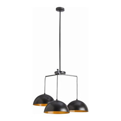 Arteriors - Sheldon Pendant - Bronze and gold bring a striking new vibe to your favorite modern setting. Here, three iron domes with a dark antique finish outside and a shining coat within descend independently from black cloth cords.