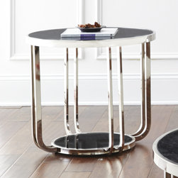 """Steve Silver Furniture - Steve Silver Rihanna Faux Marble Top End Table - The Rihanna end table combines marble and metal with style and sophistication. The collection pieces are constructed of ebony faux marble tops and shelves along with gleaming nickel plated metal trim and bases.  The 24"""" round end table top pairs with the 22"""" end table base."""